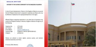 PH Embassy in Bahrain Ready to Repatriate OFWs Amid Tensions in Region