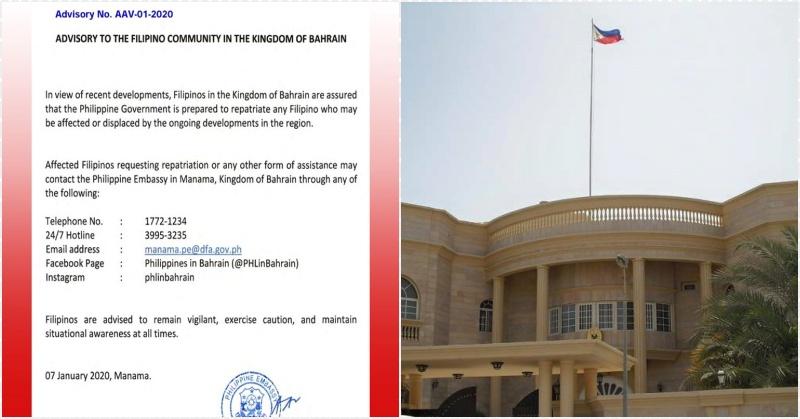 PH Embassy in Bahrain Ready to Repatriate OFWs Amid Tensions in Region