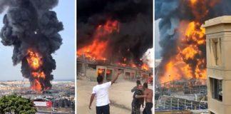 fire in beirut port lebanon