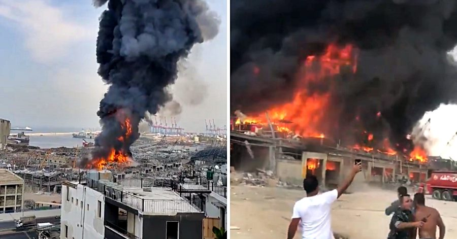 fire in beirut port